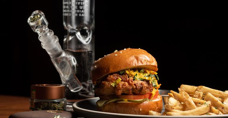 A burger and a bong at Lowell Cafe, now the Original Cannabis Cafe.