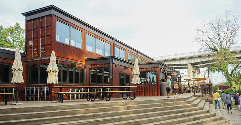 Smoky Park Supper Club in Asheville, N.C., is constructed from 19 containers.