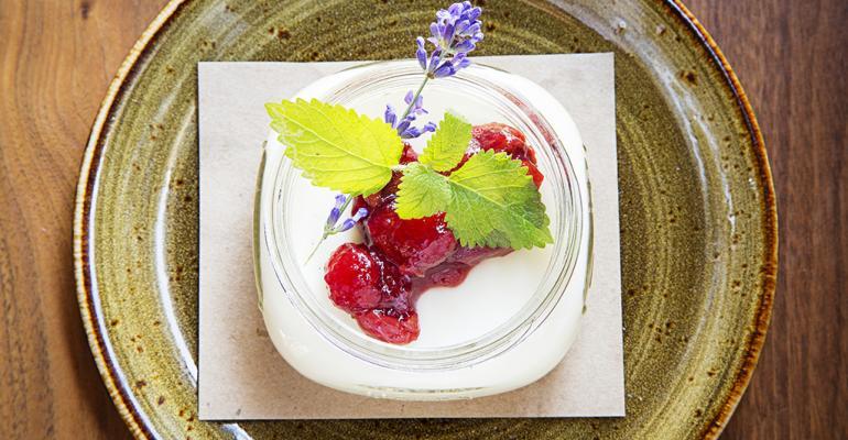 Garrison39s buttermilk panna cotta with cherry jam