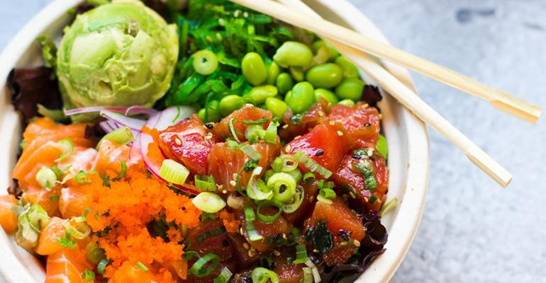 Bowl of poke from Poki Time, the fast casual restaurant moving entirely to ghost kitchens