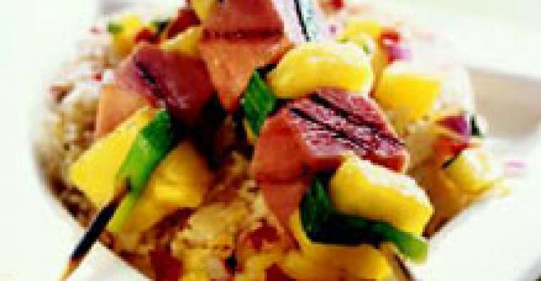 Caribbean Ham Skewers with Coconut Fried Rice