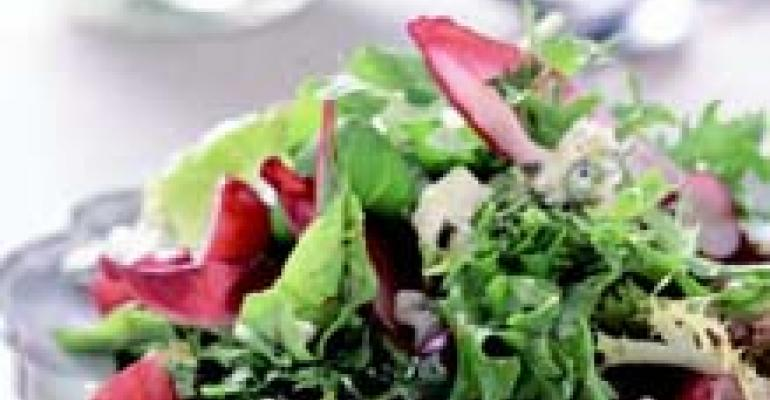 Red Grapes, Spring Greens and Gorgonzola Cheese with Basil Orange Vinaigrette