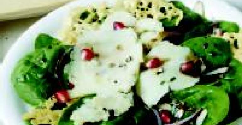Spinach Salad with Shaved Pepato and Pomegranate Vinaigrette