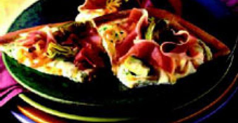 Prosciutto di Parma, Artichoke and Mozzarella Pizzas