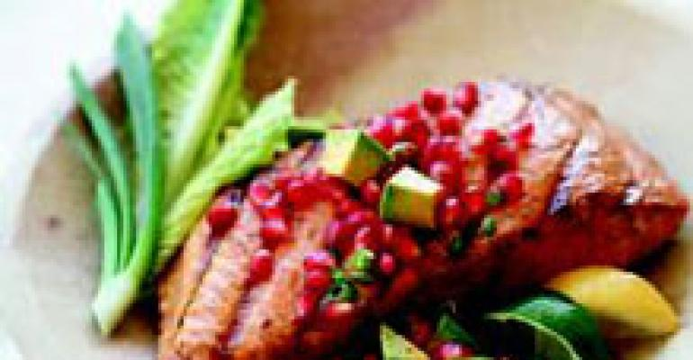 Pomegranate and Avocado Salsa for Roasted Salmon