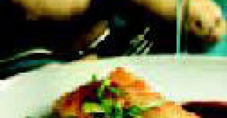 Idaho Potato-Crusted Black Bass with Black Truffle Sauce and Wild Arugula
