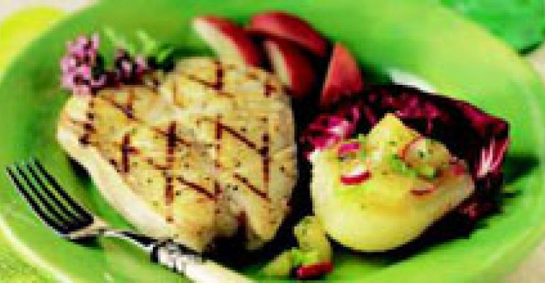 Grilled Halibut with Sweet Spicy Pear Chutney