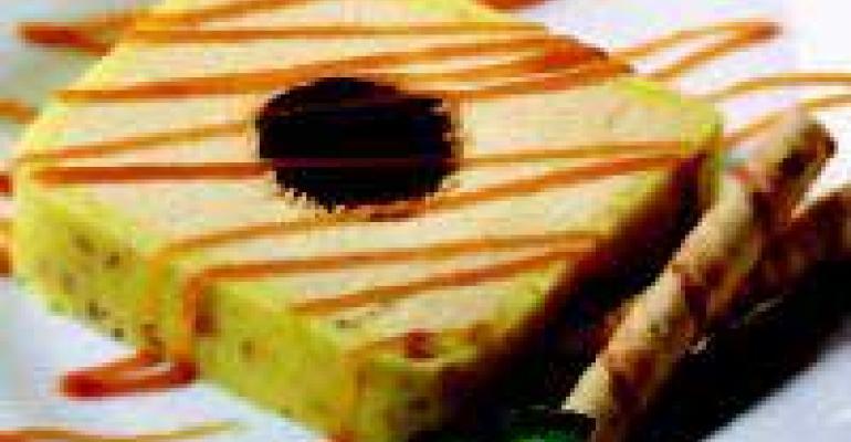 Peanut Butter and Godiva Truffle Terrine with Peanut Caramel