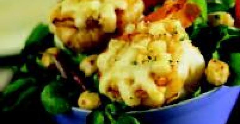 Cumin Boere Kaas Crusted Shrimp with Chickpea Salad