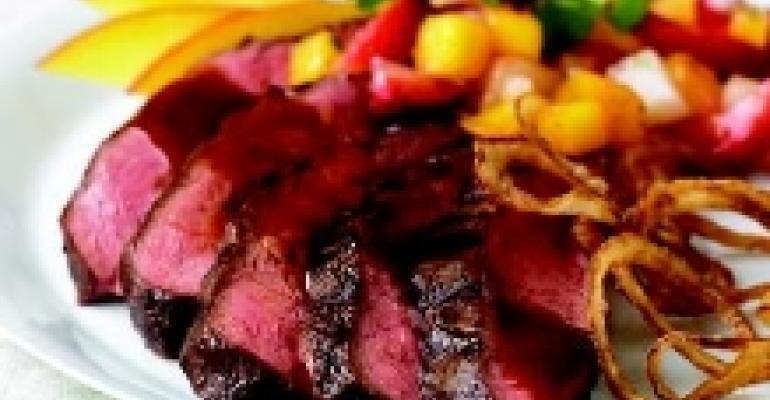 Drunken Flat Iron Steak with Crispy Onion Rings