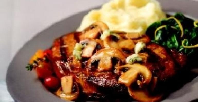 Rib Eye Steak Topped with Gorgonzola Mushroom Butter