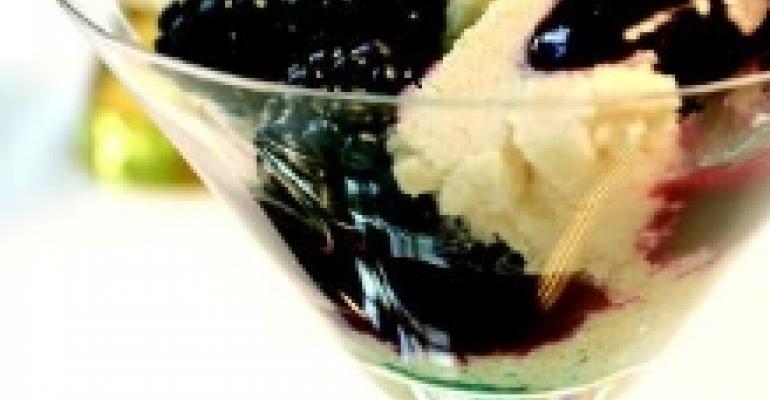 Soy Lemon Pudding Cake with Blackberry Sauce
