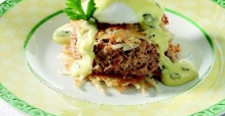 Potato-Crusted Turkey Rillette with Poached Egg & Truffle Hollandaise