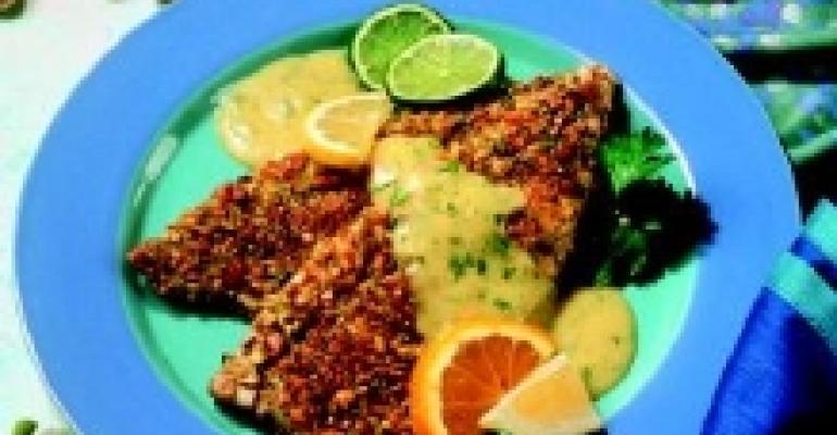 Pistachio-Crusted Rainbow Trout with Cilantro Citrus Hollandaise