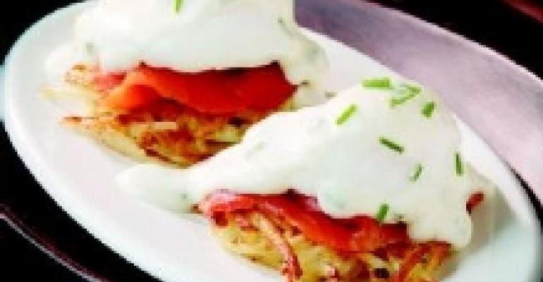 Smoked Salmon Benedict on Potato Latkes with Chive Mornay Sauce
