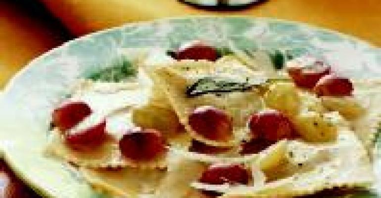 Pumpkin Ravioli with Grape Butter Sauce