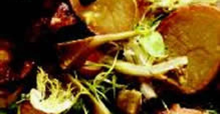 Artichoke and Idaho Potato Salad with Barigoule Vinaigrette, Ham Hock and Garlic Aioli