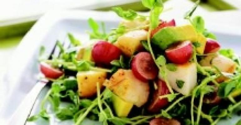 Sea Scallops with Red Grapes, Avocado and Pea Shoots