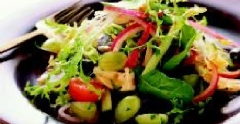Frisee and Arugula Salad with Fresh Grapes, Red Onions, Tomato, Cucumber and Peanut Dressing