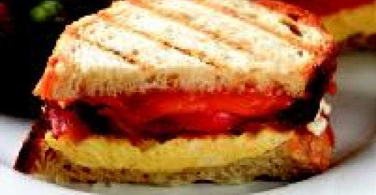 Panini with Scrambled Eggs, Bacon, Cheddar and Tomato