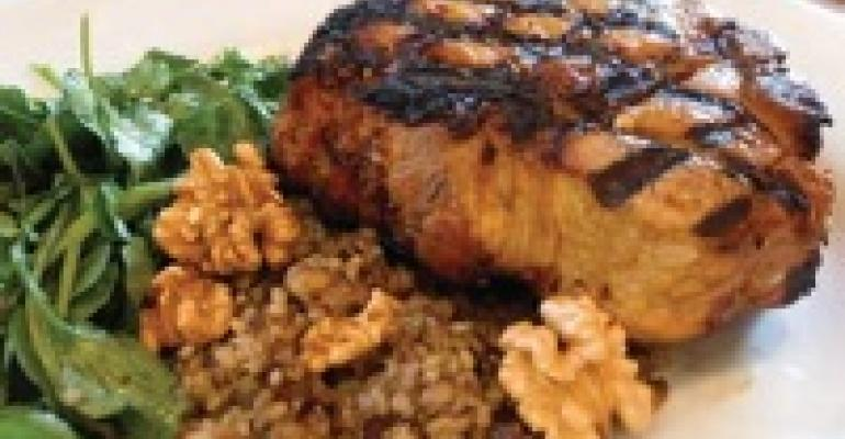Pork T-Bone with Walnut Bulgur Pilaf