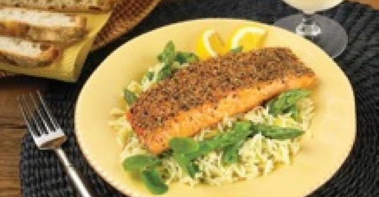 California Asparagus with Salmon and Lemony Orzo Salad