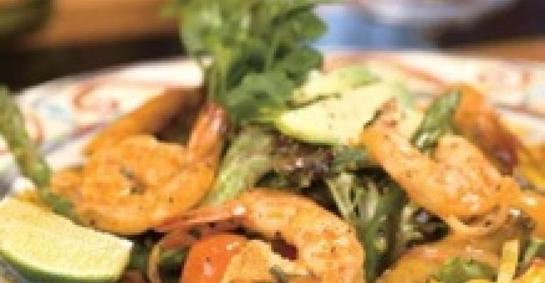 Field Greens with Tequila-BBQ Mexican Shrimp
