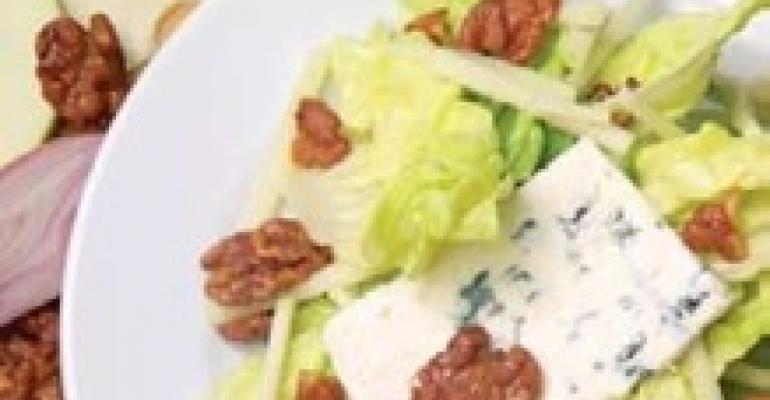 Butter Lettuce Salad with Honey Walnuts, Blue Cheese and Ver Jus Honey Vinaigrette