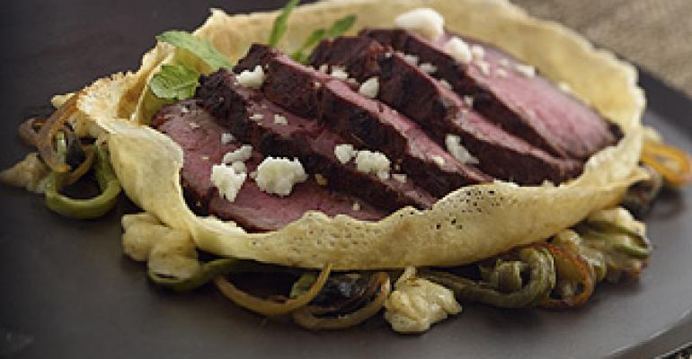 Smoked-Grilled Filet Mignon Burrito with Stew of Nopales, Huitlacoche and Wisconsin Queso Fresco