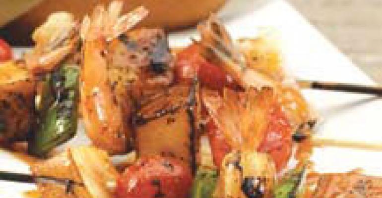 Asian Shrimp Pear Skewers