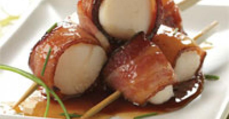 Famous Scallop Skewers with Applewood Smoked Bacon and Lehua Honey Glaze