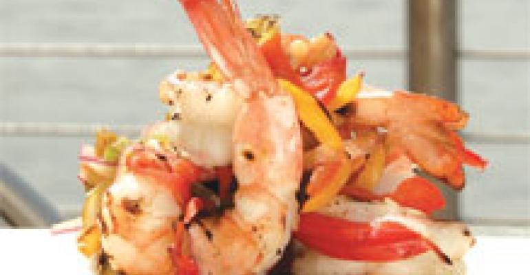 Seared Shrimp with Roasted Pepper Salad and Grilled Parmesan Polenta