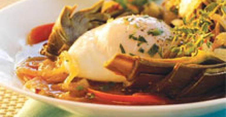 Poached Eggs with Artichokes Barigoule
