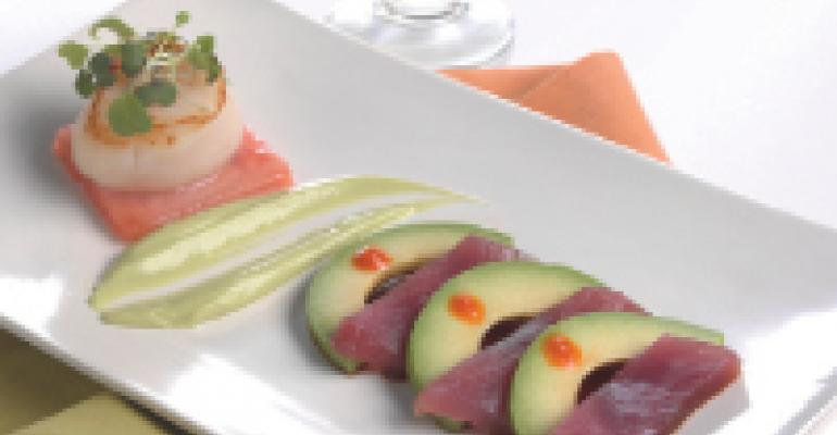 California Avocado Tuna Sashimi, Diver Scallop, Picked Watermelon, Avocado Yuzu Emulsion