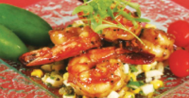 Tequila and Brown Sugar-Glazed Mexican Shrimp with Corn & Jicama Relish