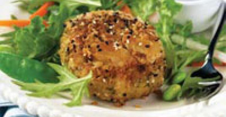 Sesame-Crusted Crab Cake Salad with Yuzu Citrus Dressing