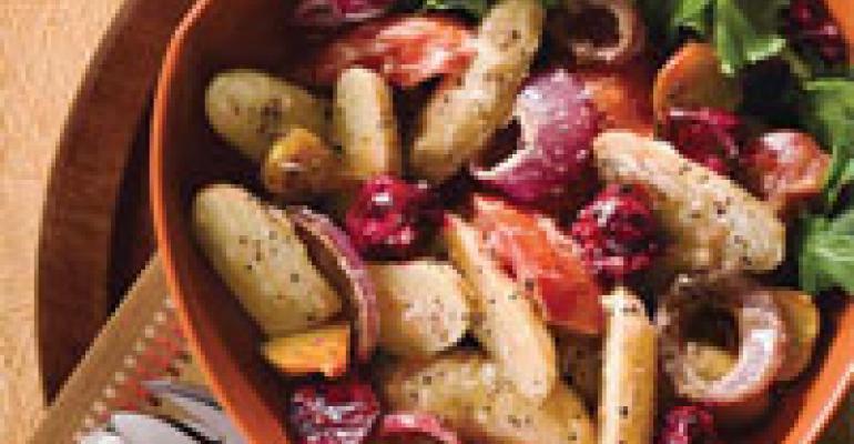 Warm Idaho Potato, Roasted Beet and Roma Tomato Salad with Herb Pesto