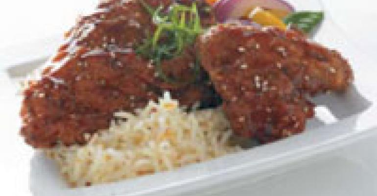 Ginger-Sesame Fried Chicken with Orange-Scented Jasmine Rice
