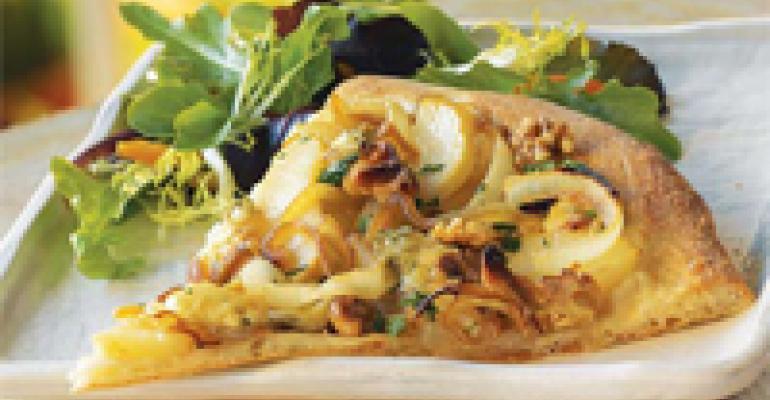 Caramelized Onion, Pear and Gorgonzola Pizza