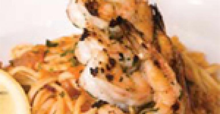 "Linguine ""Puttanesca"" with Grilled Shrimp"