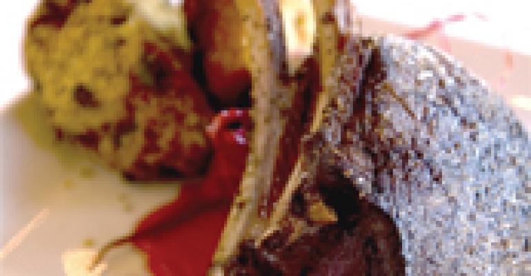 Cervena Venison Chop, Candied Radishes and Duck Confit Spoon Bread