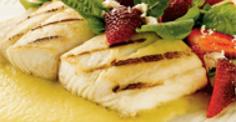 Grilled Halibut with Yellow Tomato Basil Sauce, Watercress, Feta and Strawberries