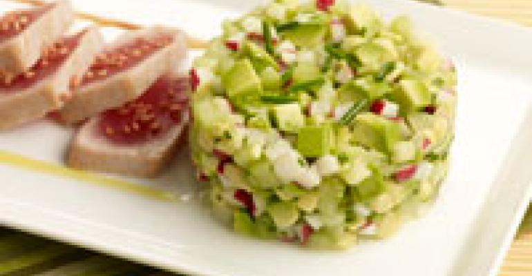 Sesame Seared Ahi and California Avocado Radish and Cucumber Salad