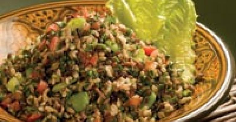 Seven-Rice Tabbouleh Salad with Green Lentils, Fava Beans and Tomatoes