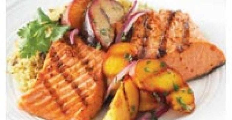 Chilean Grilled Fruit with Spice-Crusted Salmon and Mushroom Quinoa
