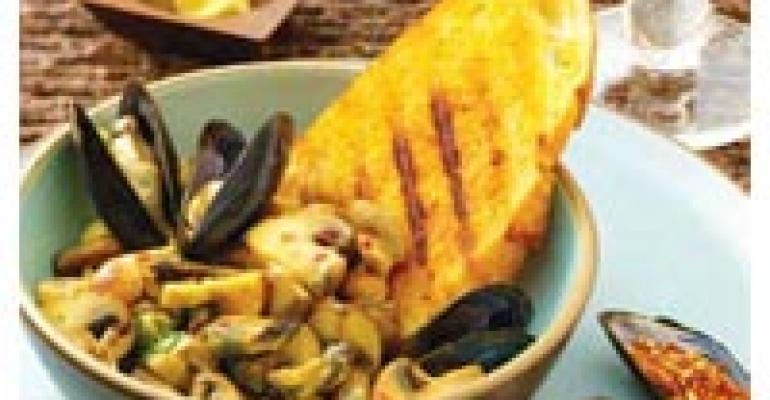 Mushrooms with Mussels and Hazelnuts