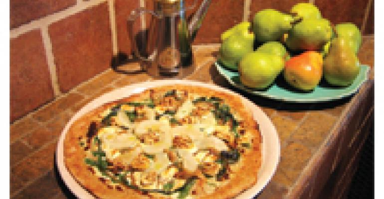 Roasted Pear, Walnut and Gorgonzola Pizza