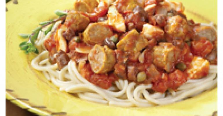 Spaghetti Puttanesca with Sausage