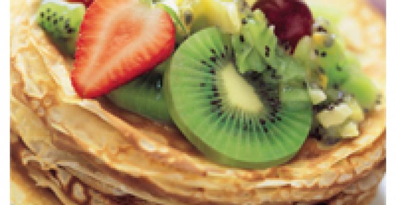 Fresh Fruit Crepes With Green Kiwifruit Sauce