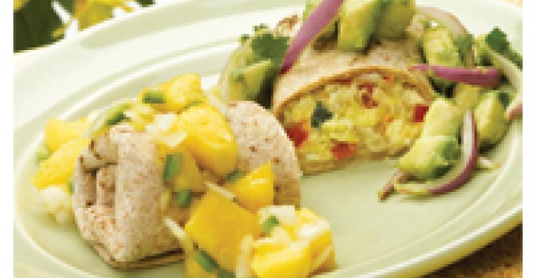 Ranch-Style Breakfast Burrito with Two Onion Salsas